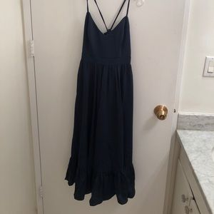 JCrew Navy Midi Dress with Crisscross Back NWT